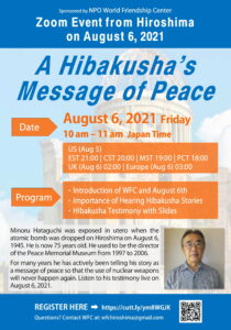 Zoom Event August6 - Hibakusha's Message of Peace
